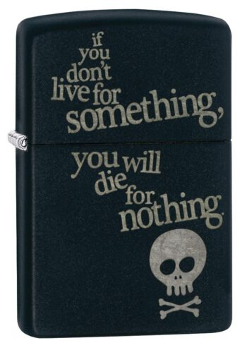 zippo-live-for-something-calavera-negro-mate